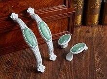 2 pcs White Dresser Knob Drawer Pull Knobs Green Porcelain Kitchen Cabinet Door Handle Furniture Hardware мясорубка аксион м 31 01 алый