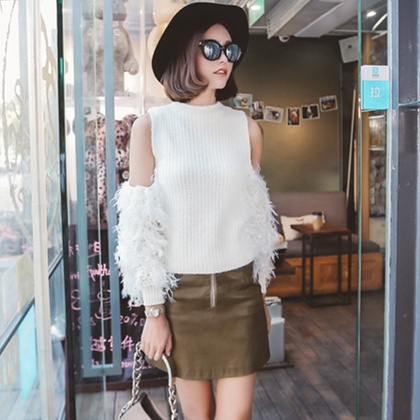 Women Sweaters and Pullovers 2016 Fashion Japanese Style Off Shoulder Tassel Flare Sleeve Knitted Sweater pull femme T71