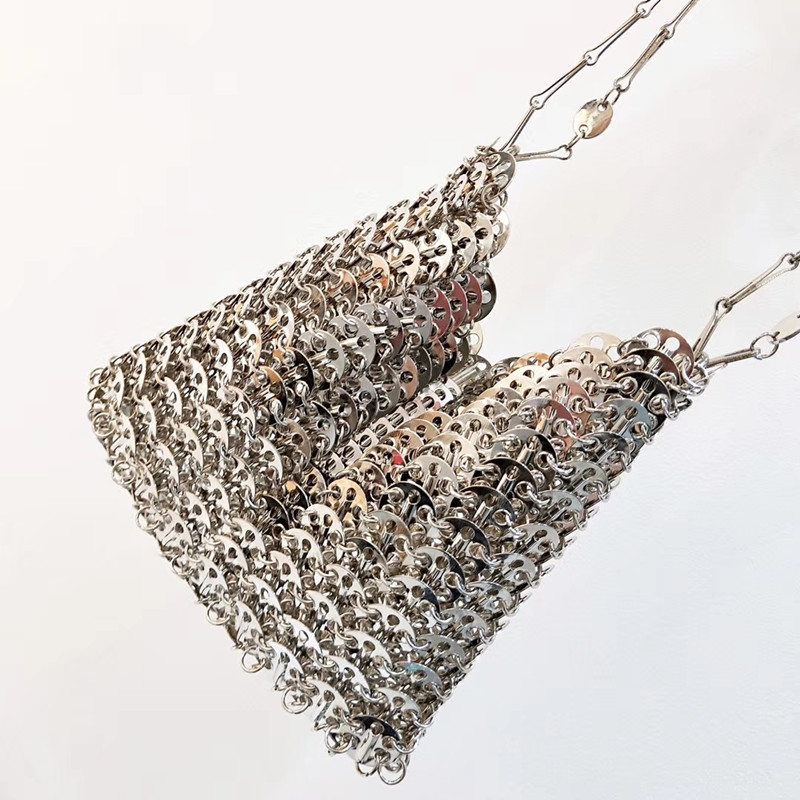 Women Bags Designer Silver Metal Sequins Chain Woven Bag Hollow Evening Bags Clutch Female Travel Holiday