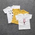 2016 Nuevos cabritos del verano de la camiseta para los bebés niñas T-shirt ropa para niños Kids ice cream print Camiseta CS074