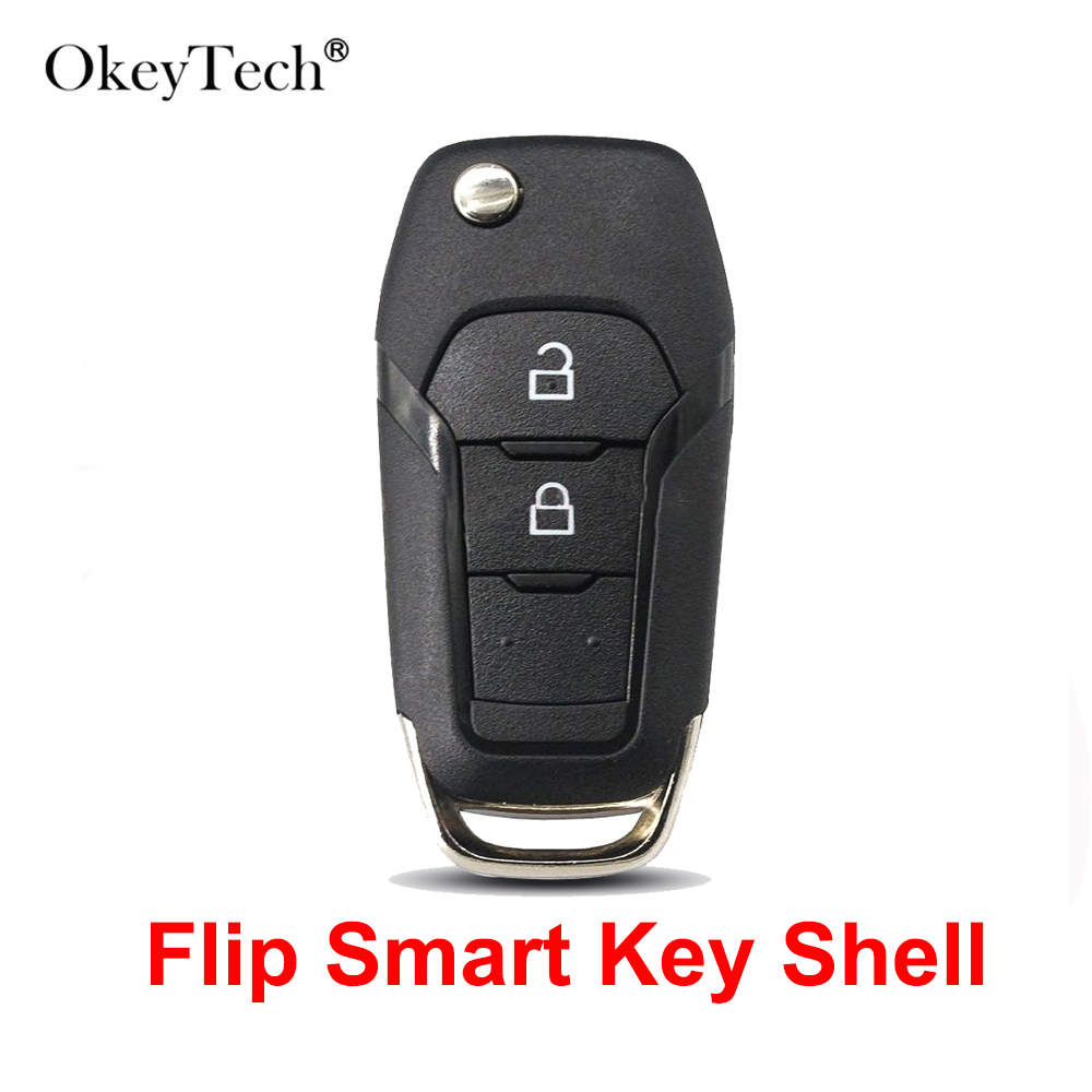 OkeyTech 2 Buttons Flip Folding Smart Remote Car <font><b>Key</b></font> Shell Case Cover Uncut Blade For <font><b>Ford</b></font> <font><b>Fusion</b></font> Edge Explorer 2013 2014 <font><b>2015</b></font> image