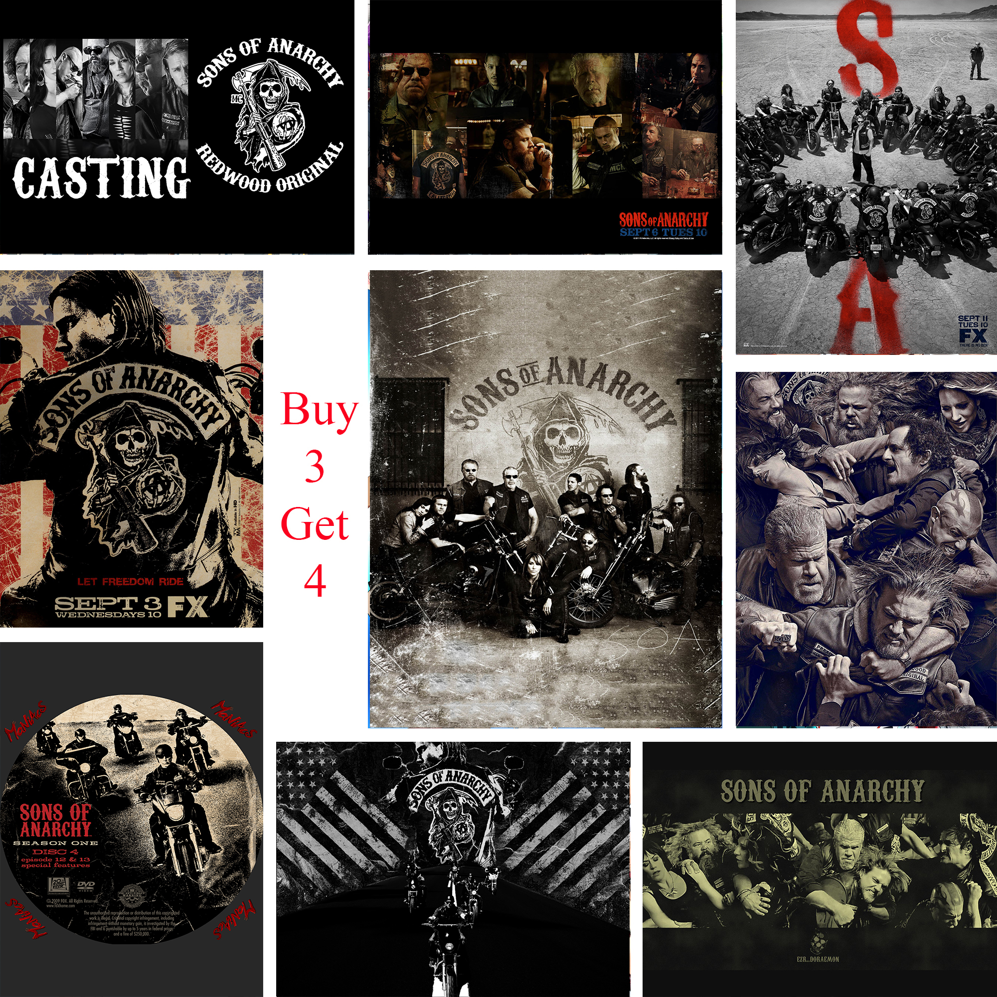 SONS OF ANARCHY POSTER Complete Series Season Wall Art Photo Print Poster A4 A3