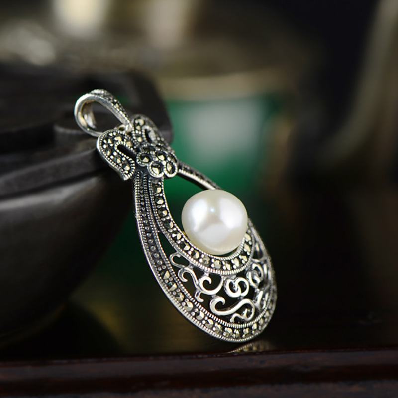 Real Pure 925 Sterling Silver Pendant For Women With Natural Pearls Mosaic Flowers Thai Silver Antique Necklaces & Pendants
