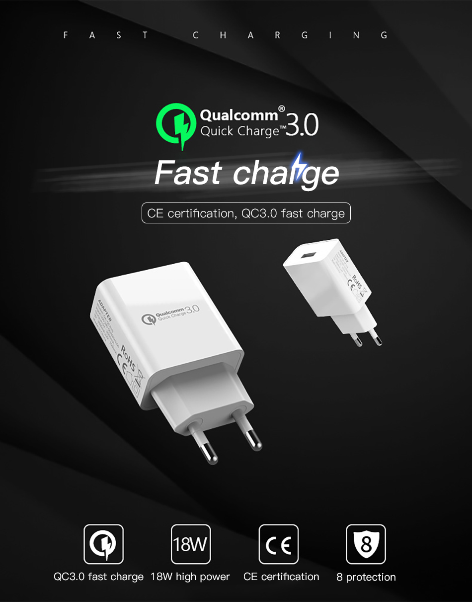 !ACCEZZ 18W Quick Charge 3.0 Fast Charging 3A EU Plug Wall Mobile Phone USB Charger Adapter For iPhone Samsung Xiaomi Huawei (1)