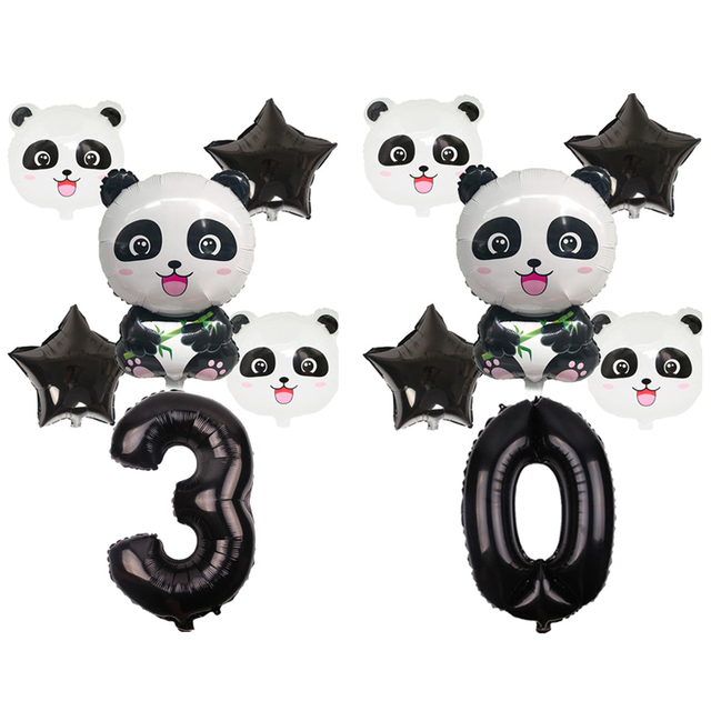 6pcs/set Cartoon Panda Foil Balloons Birthday Party Decoration Animal Panda 32 Inch Black Number Balloon Set Globos Kids toys