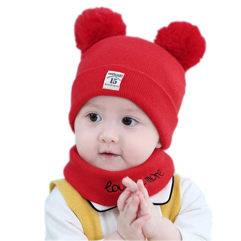 a064f12b455 ... Baby kids girl beanie hat cap set with scarf for winter Warm Crochet  Knit toddler boy