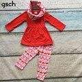 Da criança Do Bebê Roupas de Menina Set 3 pcs Dia Dos Namorados boutique Roupa Das Crianças Outfit com lenço meninas top vermelho + rosa calças de bebes