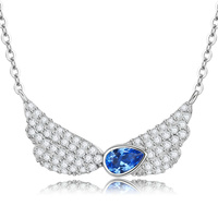 Authentic 925 Sterling Silver Guardian Angel Heart Pendant Necklaces Dazzling CZ Luxury Sterling Silver Jewelry