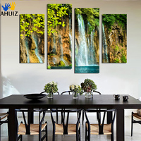 4 pcs Arte Da Parede Da Pintura Da Lona Pintura Beleza Pintura Moderna Imagem Home Decor F1809 Cachoeira Natural