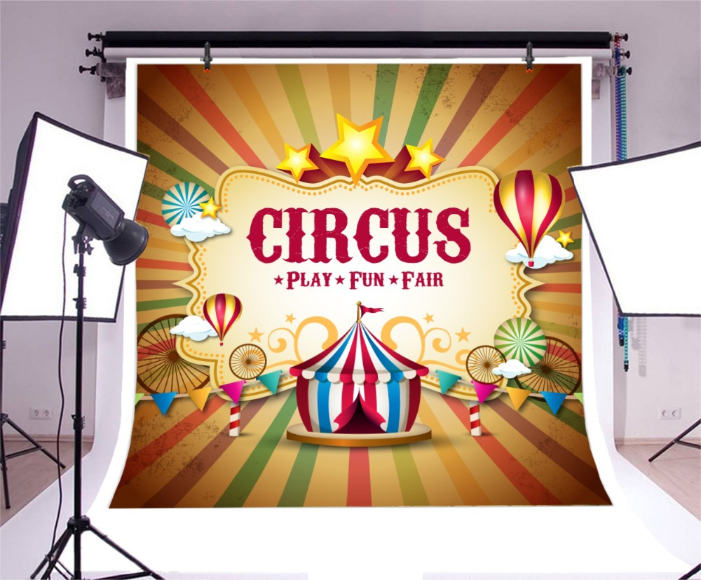 Laeacco Cartoon Circus Tent Hot Air Balloon Star Baby Photography Backgrounds Customized Photographic Backdrop For Photo Studio in Background from Consumer Electronics