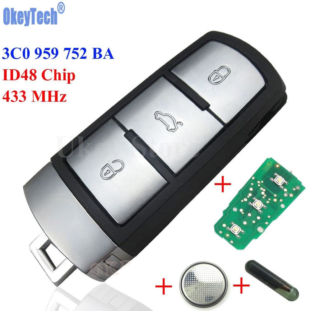 OkeyTech 433Mhz ID48 Car Remote Key 3C0 959 752 BA for VW Passat CC Car Key 3 Buttons Keyless Entry Fob Replacement Shell Case