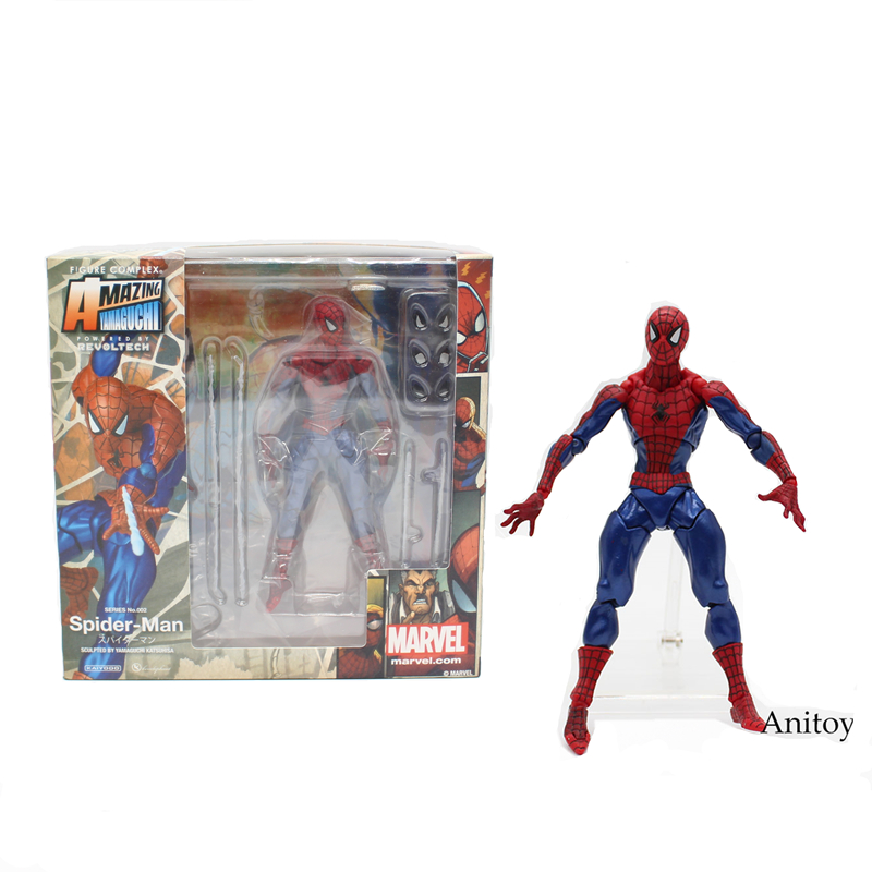 Revoltech Series NO.002 Spider Man Spiderman PVC Action Figure Collectible Model Toy 16cm KT3735 a toy a dream free shipping 6 tokusatsu revoltech no 002 hero spiderman spider man boxed 16cm pvc action figure model doll toy