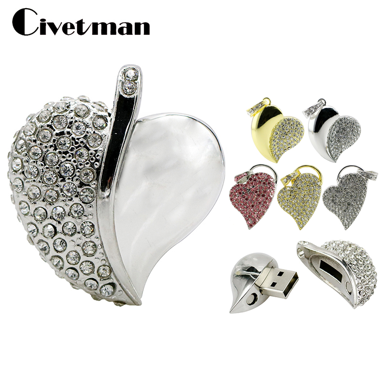 Crystal USB Flash Drive Necklace Heart Pen Drives 8GB 16GB 32GB 64GB Jewelry USB Memory Stick Pendrive Flash Disk GiftsCrystal USB Flash Drive Necklace Heart Pen Drives 8GB 16GB 32GB 64GB Jewelry USB Memory Stick Pendrive Flash Disk Gifts