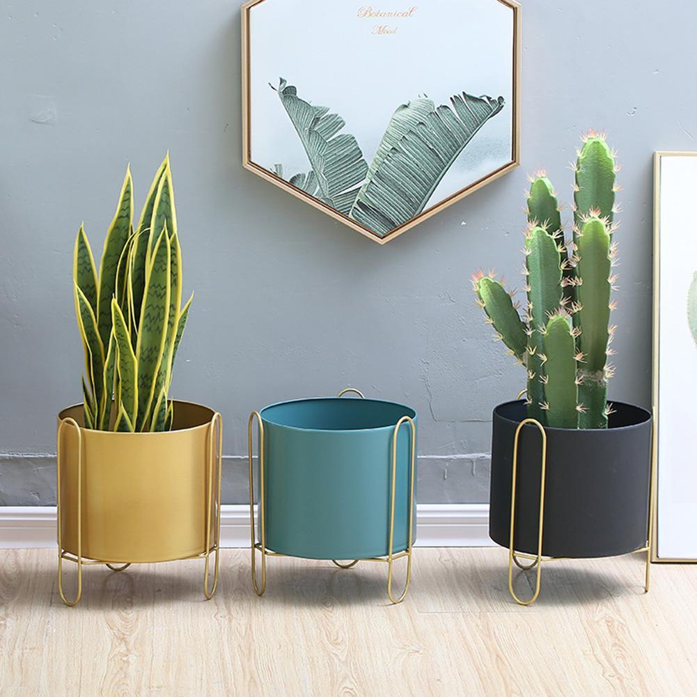 Fer forgé Vase fleur Stand métal fleur Pot plateaux support pour fleur vert plante salon décor maison jardin fournitures 20E