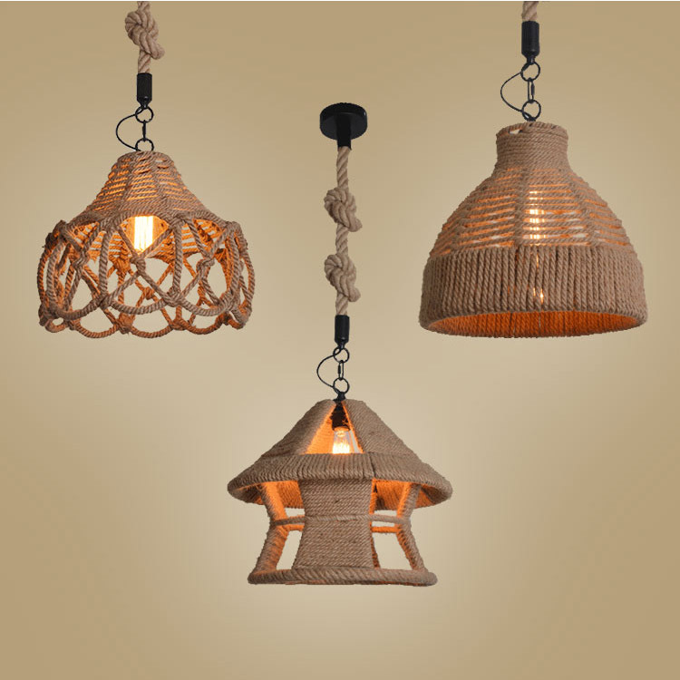 Vintage Hemp Rope Pendant Light LED Edison Bulb Lamp Loft Industrial For Living Room abajour American rustic living room