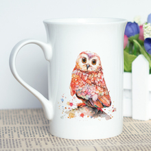 Personalized Unique Gift Cup with Cool Design Watercolor Owl Printing Coffee Mug 10oz Bone China Print Art Present