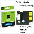 2 unids 40918 9 mm Compatible Dymo cinta cinta cinta Labelmanager etiqueta negro on adhesiva de color amarillo laminado mismo con Dymo D1 cinta de etiquetas
