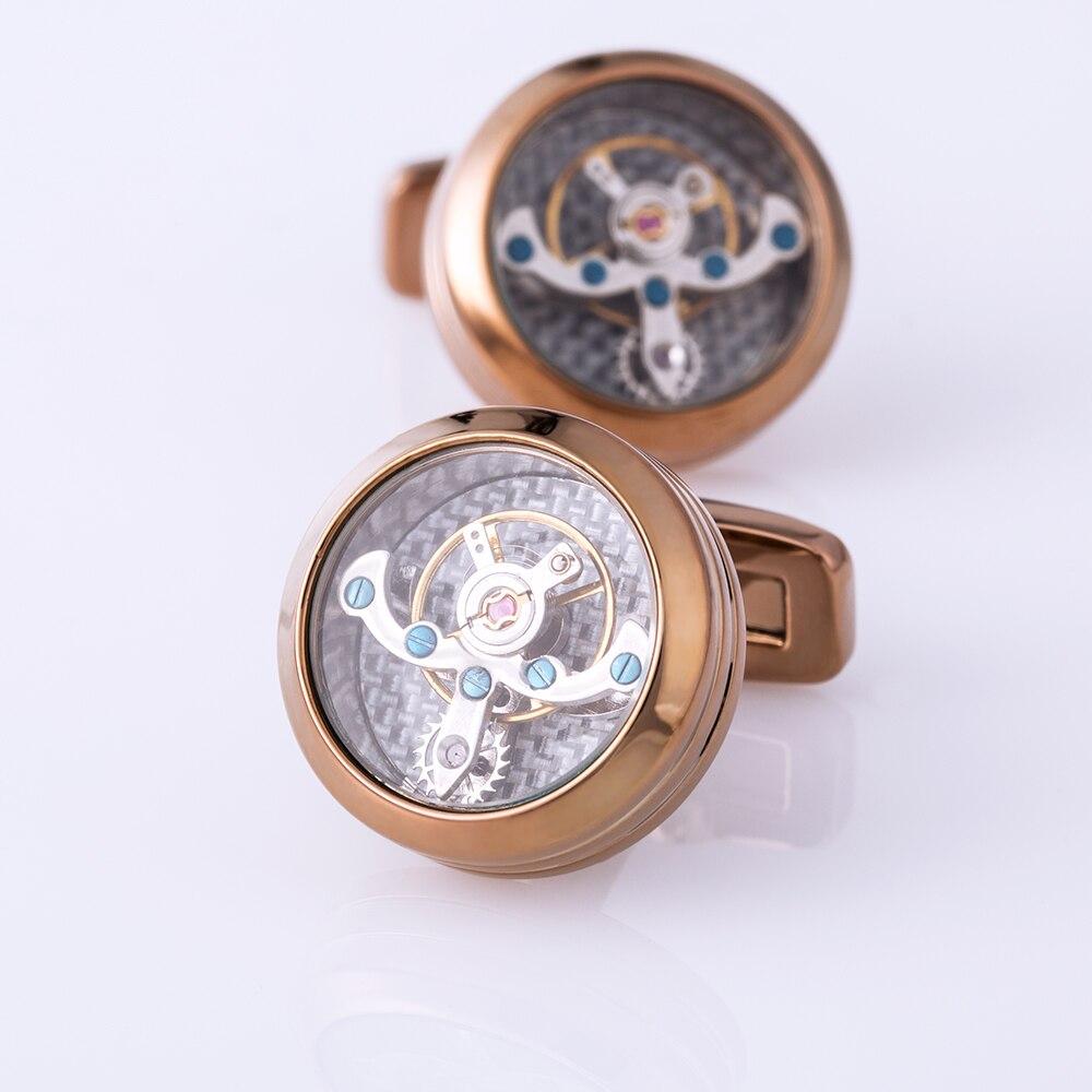 Mancuerna de la camisa de la joyería de kflk para el mens reloj mecánico movimiento cuff Link alta calidad tourbillon envío gratis - 4