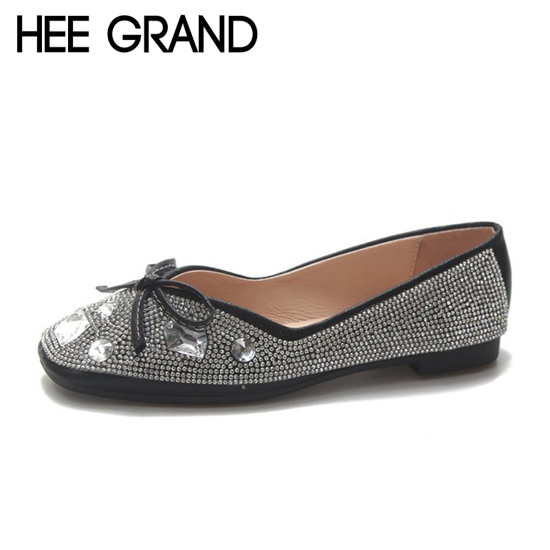 HEE GRAND 2018 New Women Flats Crystal&Bow-cot Decoration Vamp Summer&Fall Women Slip-on Causal Fashion Mujer Shoes XWD6754