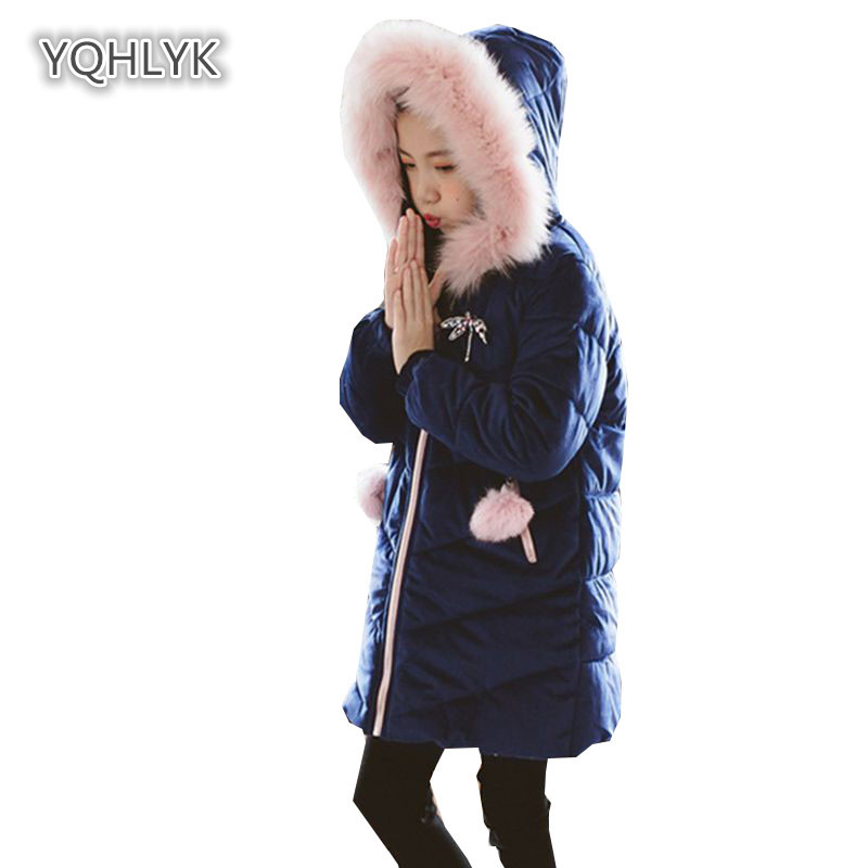 Children's winter girls cotton coat Korean hooded warm cotton Thicken long casual girl Parkas Outerwear LK200 s c cotton brand backpack men good quality genuine leather