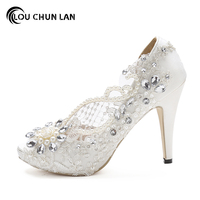 LOUCHUNLAN Woman Shoes Pumps White Open Toe Lace Pearl Rinestone Crystal Silks Satins Wedding Shoes High Heels Party Women Shoes
