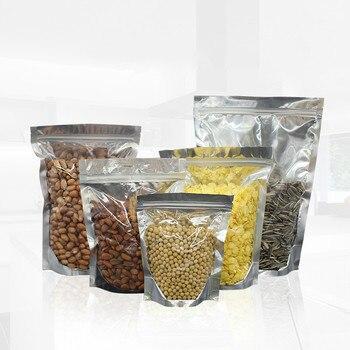 100pcsTranslucent plata papel de aluminio frutas secas té de hierbas bolsas de embalaje de alimentos bolsa Ziplock de plástico bolsa de hueso