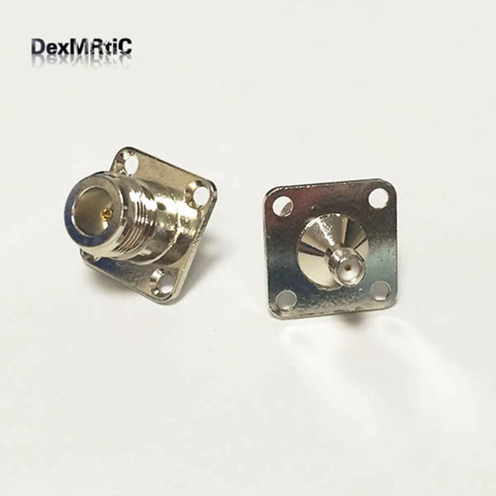 1pc  N  Female Jack Switch  SMA  Female RF Coax Adapter Convertor Straight 4-hole Panel Chassis Nickelplated  NEW Wholesale