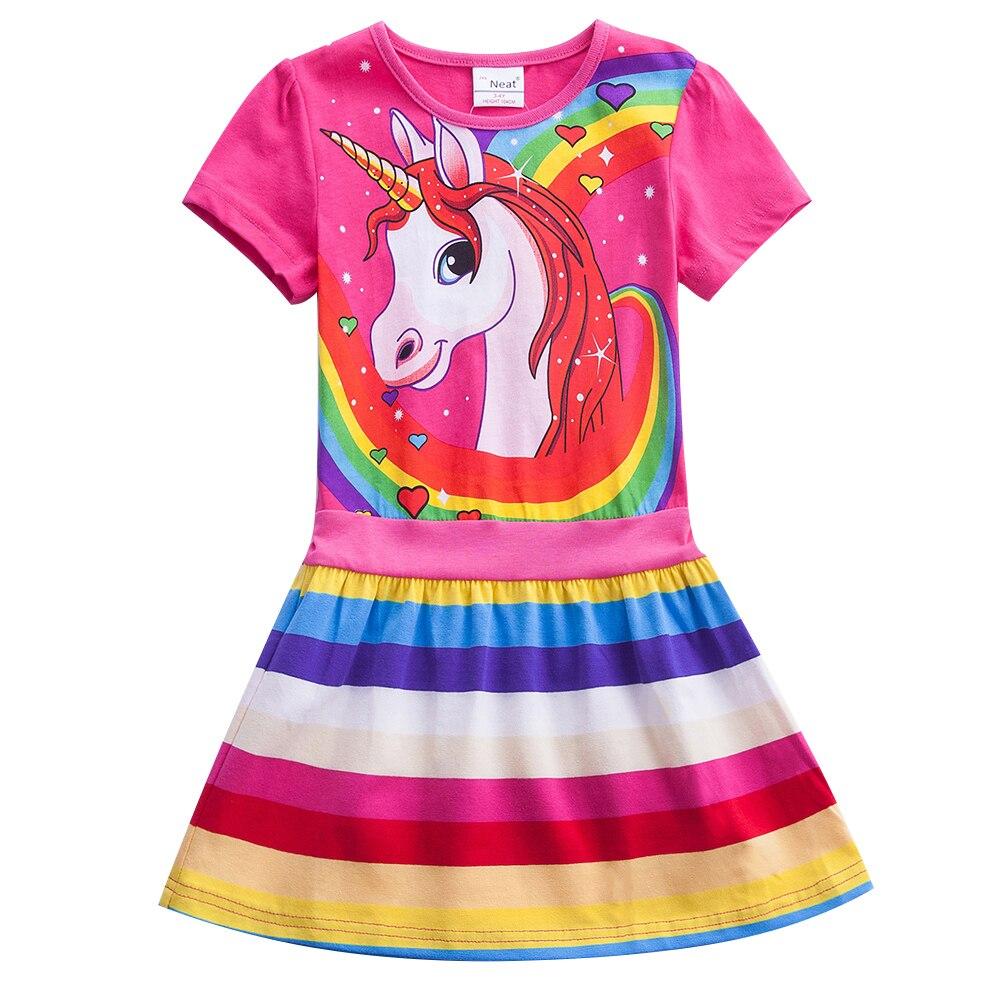 Unicórnio verão Menina Crianças Rainbow Stripes Manga Curta A-line Vestido de Impressão Meninas Vestido de Algodão de Manga Curta Em Torno Do Pescoço SH6219