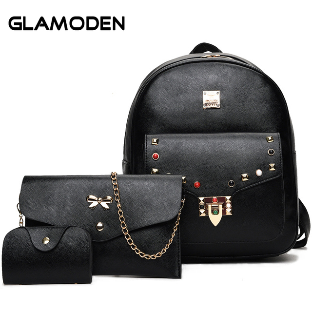 535eb991a28d Rivets Women Backpack Sets School Bags European and American Fashion 3  piece Small Travel Back Bag for Female Teenager Students
