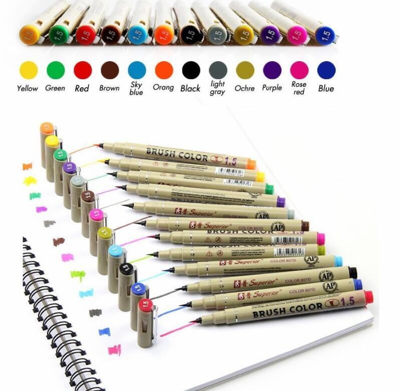 superior 12 Colors Drawing Artist Soft Brush Pen Sketch Marker For School Children Stationery Watercolor Design Paints Art Suppl touchnew 60 colors artist dual head sketch markers for manga marker school drawing marker pen design supplies 5type