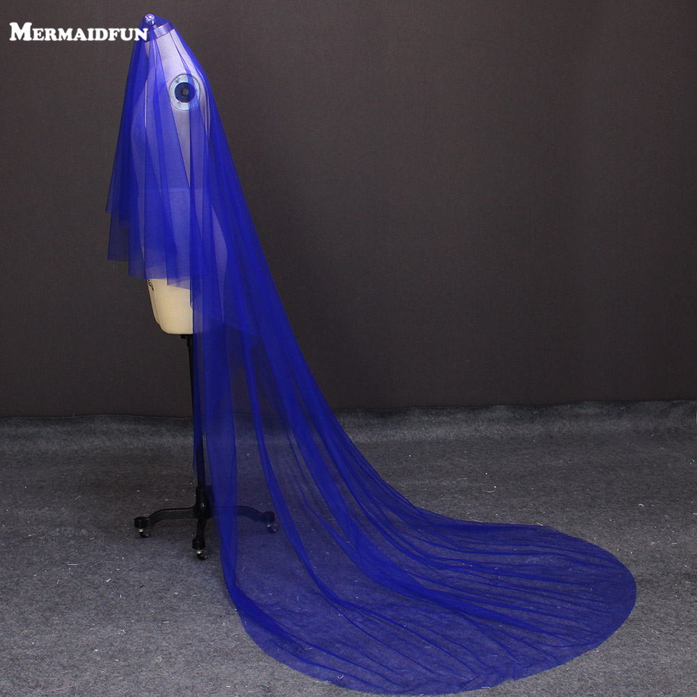 2018 Real Image 3 Meters Royal Blue Long Wedding Veil WITHOUT Comb New Colorful Veil