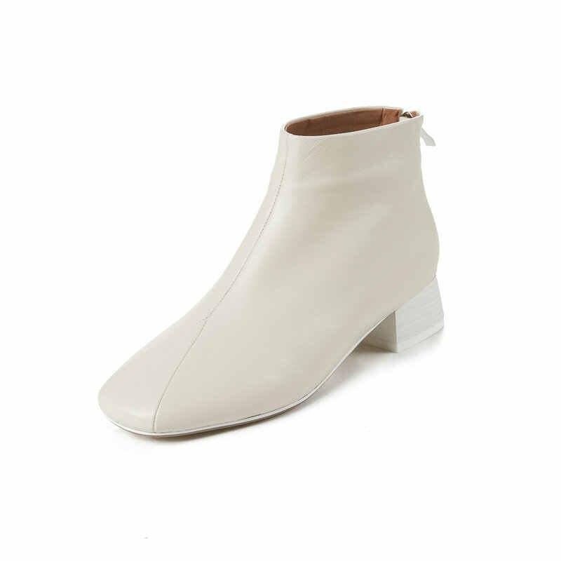 TXCNMB 2019 Giày Nữ Mắt Cá Chân Giày cho Nữ Mùa Đông Chính Hãng Da Vuông Cao Gót Giày Người Phụ Nữ Size 35- 43
