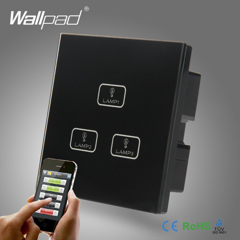 ФОТО 2pcs 3 Gang 2/3/4Way WIFI Switch Best Quality Wallpad Crystal Glass Broadlink Android/ISO Phone WIFI Controlled Light Switch