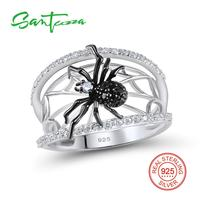 Silver Spider Rings For Woman Black Spinel Cubic Zirconia Women Rings Pure 925 Sterling Silver Party