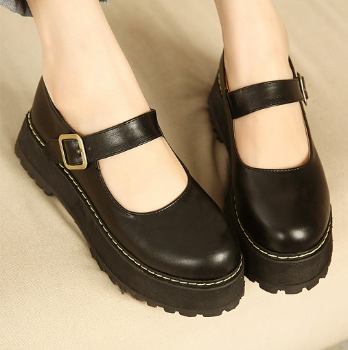 Low Platform Leather Shoes Women Vintage Fashion Preppy Style Round Toe Tenis Feminino  Spring And Autumn Buckle Women Leather