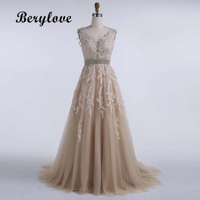 BeryLove Long Champagne Prom Dresses 2018 Beaded Lace Evening ...