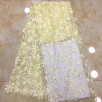 (5yards/pc) African 3D flowers appliqued net lace fabric graceful French lace fabric with sequins for party dress FZZ214
