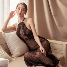 Sexy mesh perspective lace sleepwear female summer hollow embroidery hanging neck strap nightdress suit