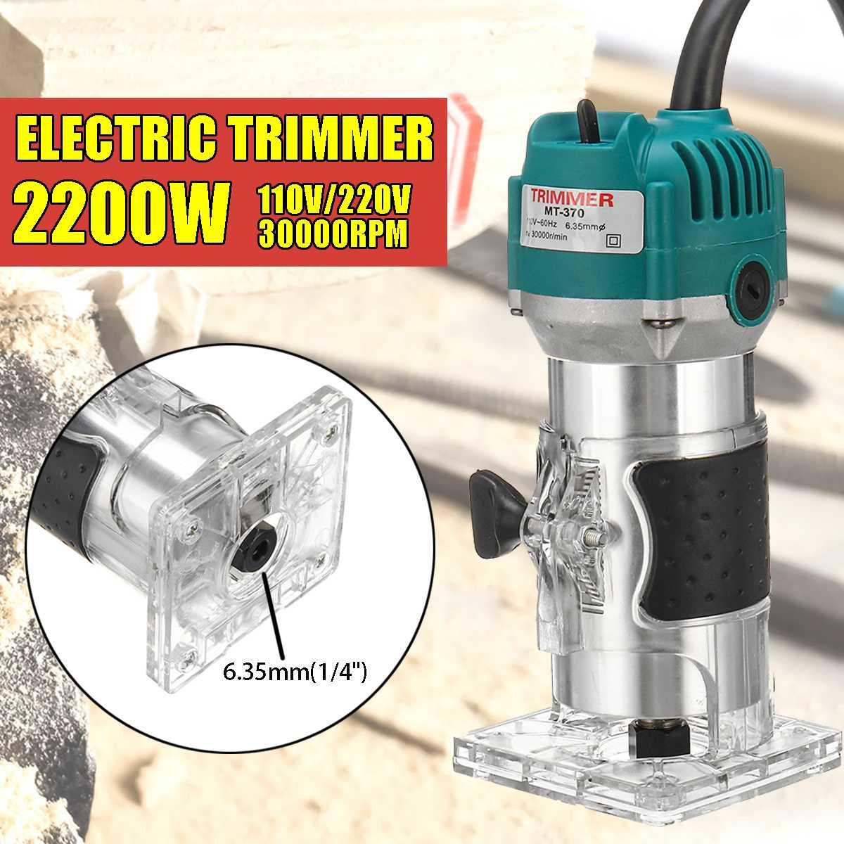 2200 W eléctrico mano Borde de laminado Trimmer de enrutador de madera 1/4 ''Collet máquina de tallado de carpintería de madera herramientas