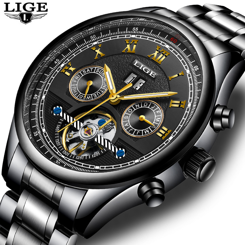 LIGE NEW Men Watches Top Brand Luxury Men's Mechanical Watch Man Full Steel Waterproof Sports Business Clock Relogio Masculino men watches lige top brand luxury men s sports waterproof mechanical watch man full steel military automatic wrist watch relojes