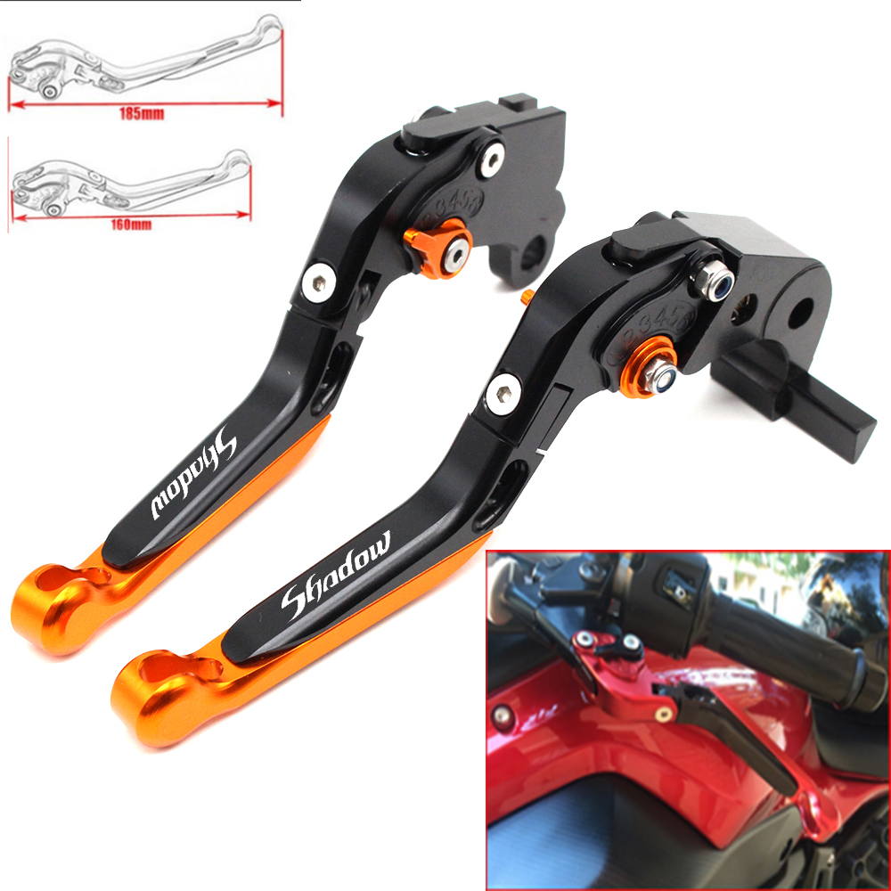 <font><b>Motorcycle</b></font> CNC Adjustable Foldable brake Clutch Levers for <font><b>Honda</b></font> Shadow 600 750 Spirit <font><b>1100</b></font> 1300 2013-2016 with Logo(Shadow) image