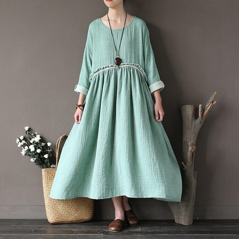 Vestido de Las Mujeres Del Otoño Flojo Ocasional sólido Del O-cuello de manga La