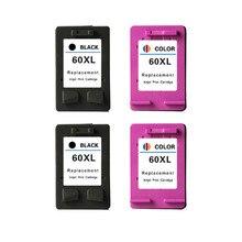 4pcs Ink Cartridge For HP 60XL 60 XL For HP60XL 60 C4635 C4640 C4650 C4680 C4740 C4750 C4780 C4795 D110A D1660 D2530 D2545 D2560