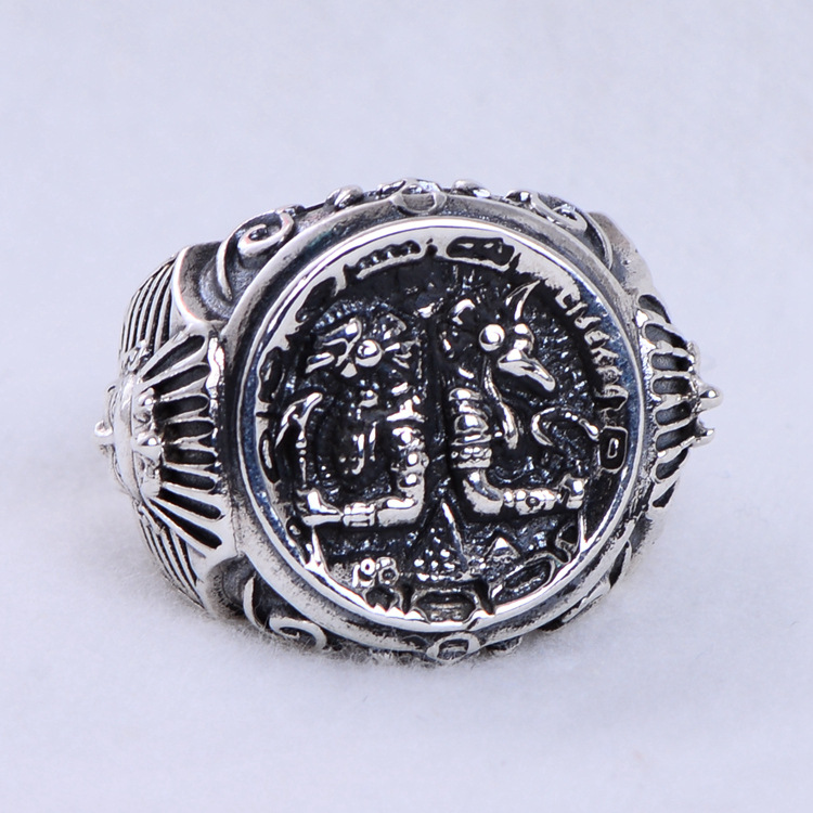 S925 pure silver ring character ICONS domineering anu, rangers Egyptian pharaoh open men's ring fortis 647 27 11 l01