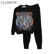 Women Tracksuits  2019 New Spring Fashion 3D Handmade Beading Tiger Sweater+Pant Kintted Suits Ladies Two Piece Set White Outfit
