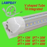 (10 Pacco) il trasporto Libero HA CONDOTTO il Tubo T8 Integrato a forma di V con accessorio 270 angolo lampada 4FT = 24 W 5FT = 30 W 6FT = 36 W 8FT = 48 W 85-277 V