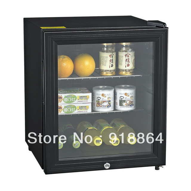 Nice 46L Lockable Glass Door Thermostatic Small Refrigerator Black, Hotel Rooms  Cooler.Free Shipping