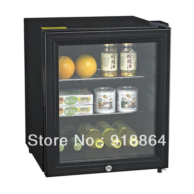 46l Lockable Glass Door Thermostatic Small Refrigerator Black Hotel