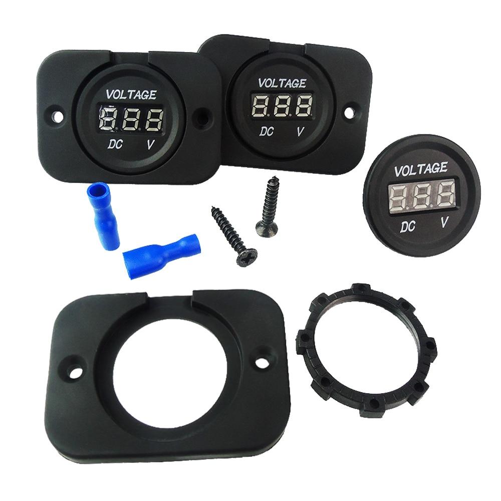Dc 12v 24v Red Waterproof Led Digital Display Voltmeter Socket For Besides Circuit Vehicle Motorcycle Car Round Panel Voltage Volt Meter Tester In Meters From Tools