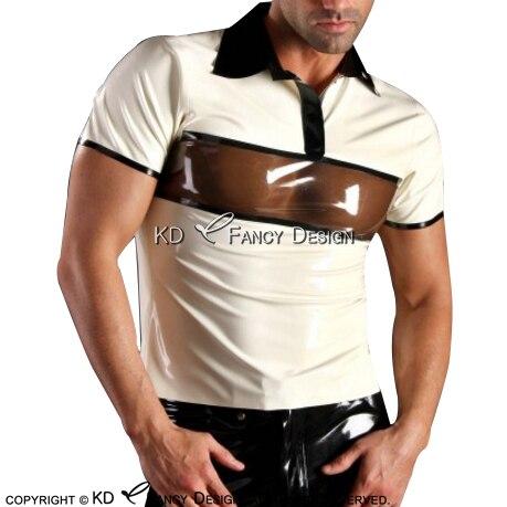 Camisa de Látex Sexy Com Guarnições de Borracha Marrom Transparente Camisa Top Roupas roupas YF 0066